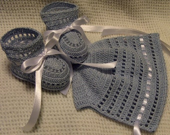 Crochet Light Blue Bonnet and Booties Newborn Baby Boy 0-3 months