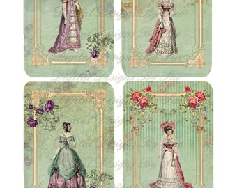INSTANT DOWNLOAD - Jane Austen No 88J - 3x5 - Printable  Digital Collage Sheet - DownLoad - Tags - Romantic