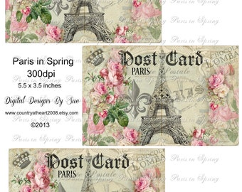 Eiffel Tower Instant Download - Paris in Spring -  Printable Digital Collage Sheet - Digital Download