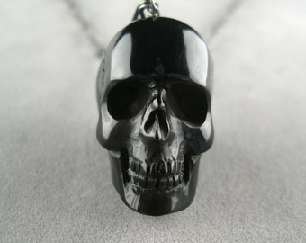 black skull necklace hand carved
