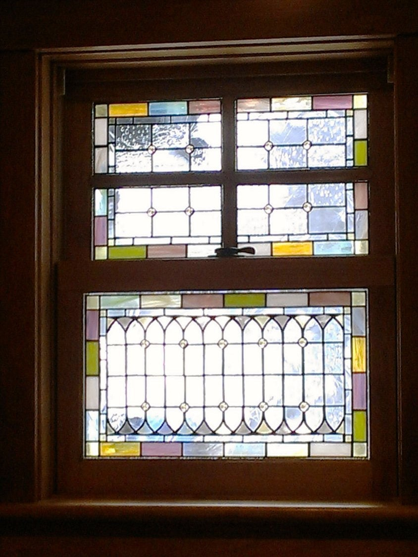 Stained glass windows pale tones w 40 for Victorian stained glass window film
