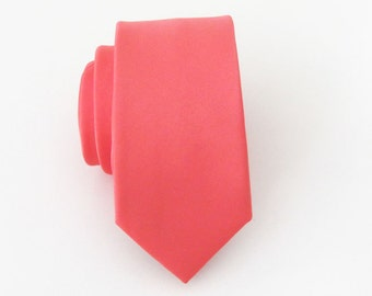 Mens Tie Coral Skinny Necktie With Matching Pocket Square Option