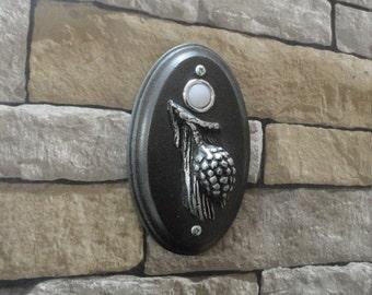 Doorbell Pine Cone Wired Rustic Craftsman Black and Platinum