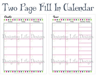 Popular items for home planner on etsy for Forever calendar template