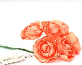 18 Orange paper flowers