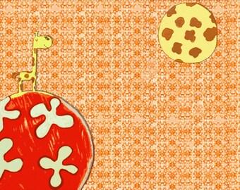 GIRAFFE PLANETS  Art Print by Giraffes and Robots