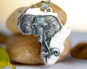 Africa Necklace Elephant African Jewelry Sterling Silver Pendant