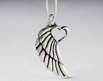 Angel Wing Necklace With Heart Pendant Tattoo Winged Heart Necklace Sterling Silver