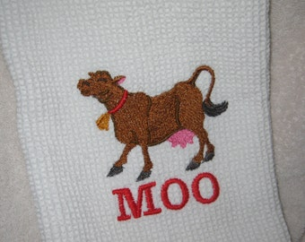 Waffle Weave Towel with Mooing Cow