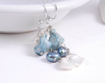 Dangle Seashell Pearl Earrings, Sterling Silver Beach Wedding, Jewelry Gifts for Her Girl Under 25