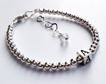 Sterling Silver Bracelet with Silver Initial / Letter Charm Block