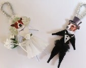 Jack Russell Terrier BRIDE and GROOM Wedding vintage style chenille ORNAMENTS set of 2
