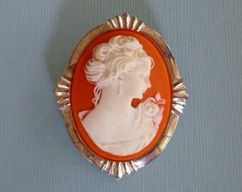 Vintage Faux Coral Cameo Pin Pendant