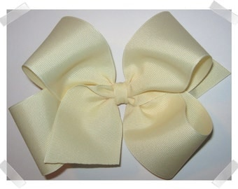 X-Large KING Size Grosgrain Hair Bow in Ivory