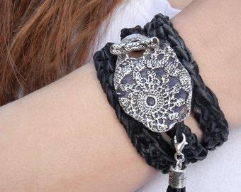 Boho Jewelry Wrap Bracelet, Bohemian Silver Jewelry, Leather TRIPLE Wrap Bracelet, Boho Silver Toggle Buckle Black Wrap Bracelet, 6 COLORS