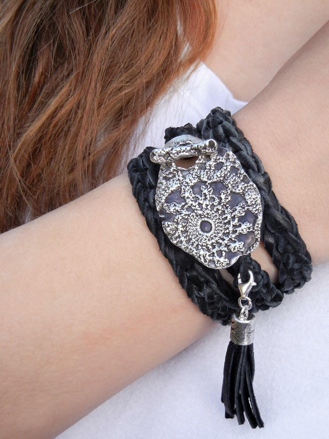 Boho Jewelry Wrap Bracelet Bohemian Silver Jewelry Leather
