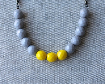 Color Block Necklace, Grey, Bright Yellow, Glass Beads, Yellow and Grey, Gray, Colour Block