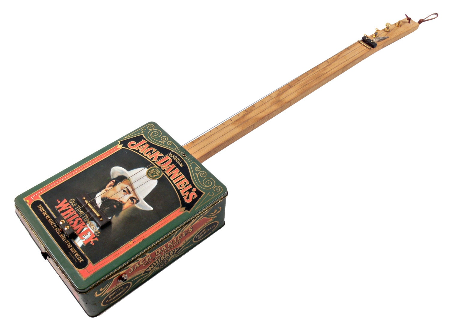 jack daniels tin cigar box guitar cbg 3 string electric by ted