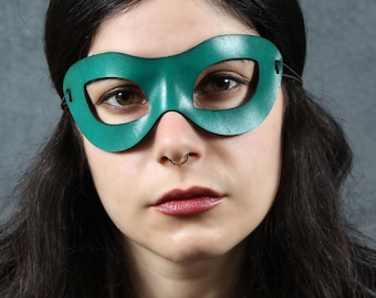 SALE for Mardi Gras .. Incognito Leather mask in teal size S/M