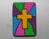 Cross Faux Stained Glass Christian/inspirational Magnet