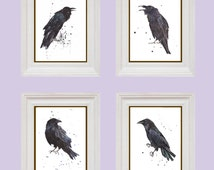 Brooding RAVEN art collection, 8x10 inch prints, set of 4 RAVEN prints, dorm decor, fall, goth, raven art