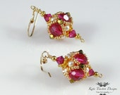 Encased Crystal Beadwoven Earrings (Pink/Gold)