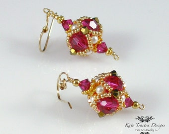 Encased Crystal Beadwoven Earrings (Pink/Gold)