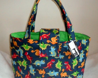 Large Dinosaurs Diaper Bag Tote CHOICE OF INTERIOR