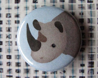 Pinback Button or Magnet - Rhinoceros Face