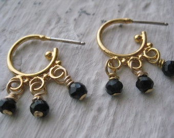 Arella Earrings, Black Spinel Gemstones, Hoops