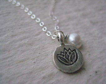 Lotus And Pearl Necklace, Sterling Silver, Freshwater Pearl, Karen Hill Tribe