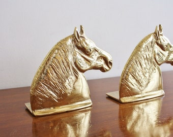 Pair of vintage brass horse head bookends