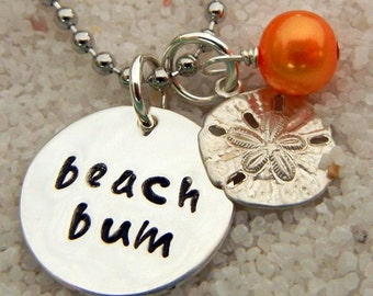Beach Necklace - Hand Stamped Sterling Silver BEACH BUM Charm Necklace by E. Ria Designs