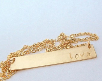 Gold Bar Necklace, Name Necklace, Personalized Gold Jewelry, Gold Letter Initial Pendant by E. Ria Designs