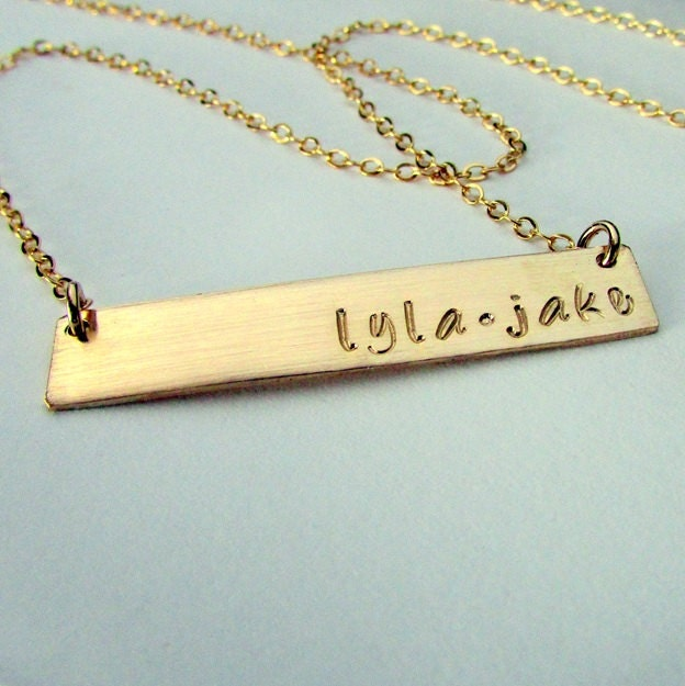 gold bar necklace custom name plate 14k gf engraved jewelry