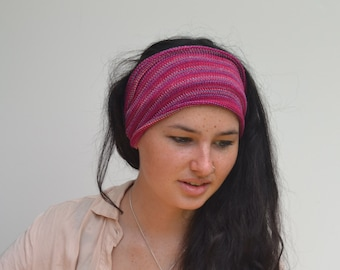 Magenta/Pink Headband/Dread Wrap