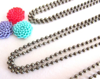 10  Antique Brass Ball Chains Necklaces 24 inches