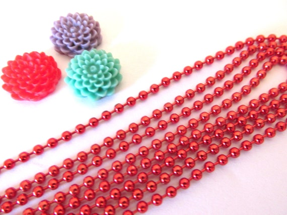 100  Shiny Red Ball Chains Necklaces 2.4mm 24 inches
