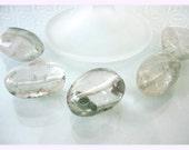 5psc Tourmalinated Quartz beads - 5psc Large Tourmalinated Quartz ovals - 5psc Tourmalinated Quartz gems - Artisan supply