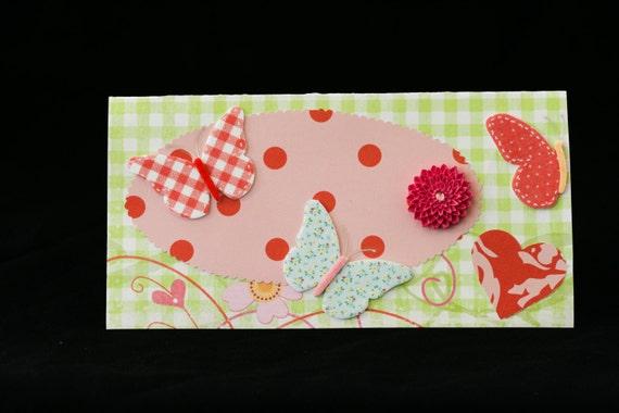 Checkbook Cover Clear Vinyl Handmade  Butterfly Design