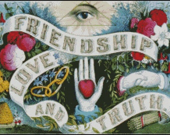 Friendship, Love and Truth  cross stitch pattern No.735