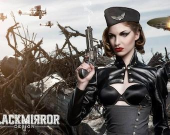 Black leatherette  steampunk aviator shrug