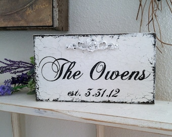 WEDDING SIGN, Family Name Sign, Mr. and Mrs. Sign, Personalized Sign, 9 x 5