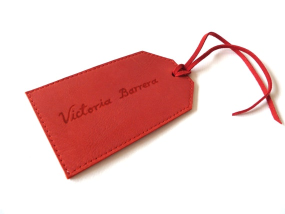 FREE SHIPPING, Personalised Leather Luggage Tag,  Red