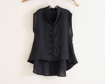 custom linen vest size XS to 5XL and up /  linen vest / frog toggle linen vest/ petite vest / plus size vest / black vest / sleeveless top