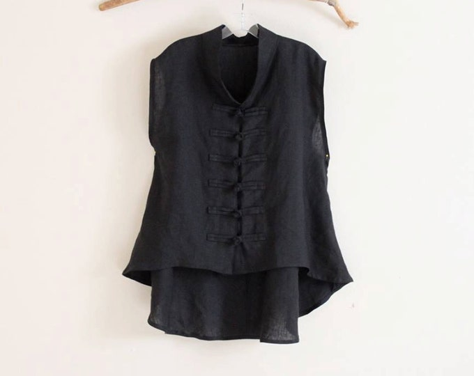custom linen vest size XS to 5XL and up /  linen vest / frog toggle linen vest/ petite vest / plus size vest / black vest / sleeveless top
