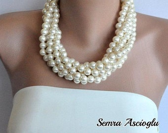 Layered Pearl Necklace, Wedding Pearl Necklace,Layered Ivory Pearl Necklace, statement jewelry,Multi Strands Jewelry ,Bridesmaids Gifts,