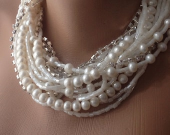 Handmade Bold ,chunky , white freshwater pearls,crystal necklace