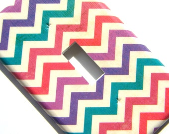 Chevron Light Switch Cover -- Pink, Purple, and Blue Distressed