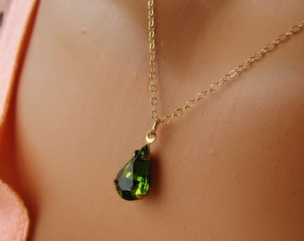 Vintage Olivine Green Czech Glass Jewel Necklace  14K Gold Fill Jewelry